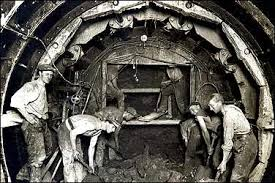 Building the tunnels in the early days.